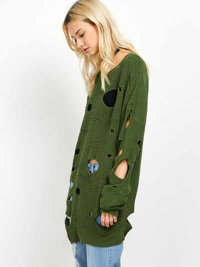 Cut Out Crew Neck Sweater - GREEN 2XL Mobile