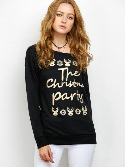 Elk Print Skew Neck Christmas Sweatshirt - BLACK L Mobile