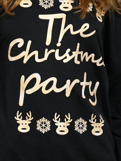 Elk Print Skew Neck Christmas Sweatshirt - BLACK M Mobile