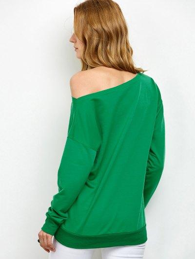 Elk Prin Skew Neck Christmas Sweatshirt - GREEN S Mobile