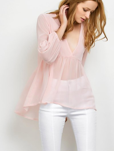 Plunging Neck High-Low Blouse - PINK L Mobile