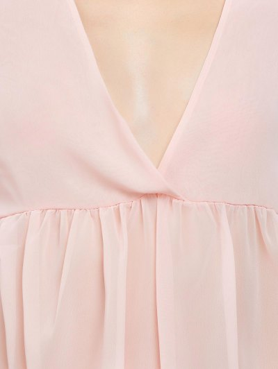 Plunging Neck High-Low Blouse - PINK S Mobile