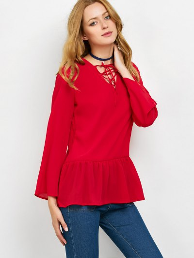 Flounce Ruffles Lace-Up Blouse - RED L Mobile
