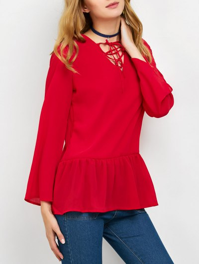 Flounce Ruffles Lace-Up Blouse - RED M Mobile