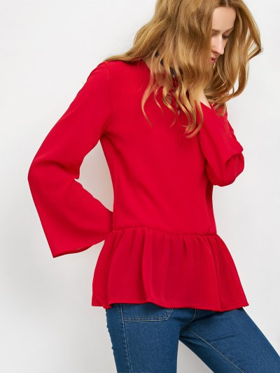 Flounce Ruffles Lace-Up Blouse - RED S Mobile