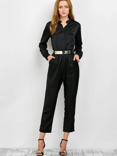 Casual Straight Leg Long Sleeve Jumpsuit - BLACK XL Mobile