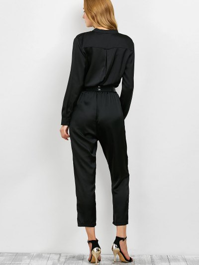 Casual Straight Leg Long Sleeve Jumpsuit - BLACK L Mobile