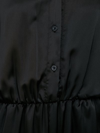 Casual Straight Leg Long Sleeve Jumpsuit - BLACK S Mobile