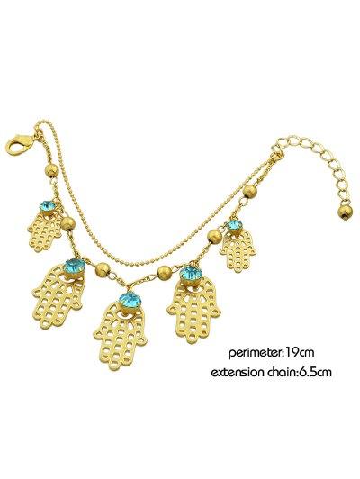 Rhinestone Beads Palm Charm Bracelet - GOLDEN  Mobile