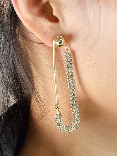 ONE PIECE Rhinestoned Pin Earring - GOLDEN  Mobile