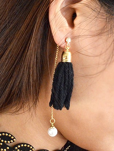 Faux Pearl Rhinestone Tassel Earrings - BLACK  Mobile