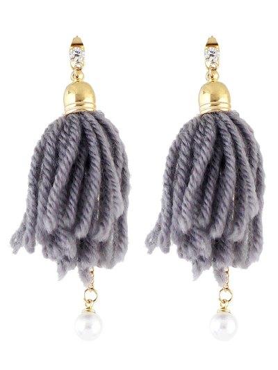 Faux Pearl Rhinestone Tassel Earrings - GRAY  Mobile