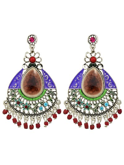 Rhinestone Faux Gem Flower Teardrop Earrings - COFFEE  Mobile