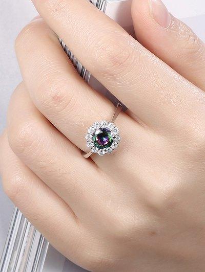 Rhinestoned Blossom Ring - SILVER 8 Mobile