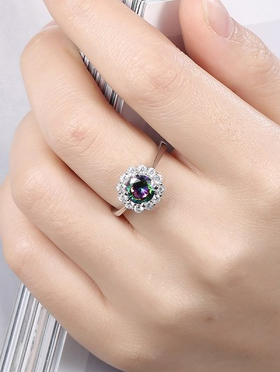 Rhinestoned Blossom Ring - SILVER 7 Mobile