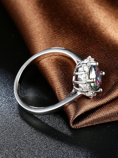 Rhinestoned Blossom Ring - SILVER 6 Mobile