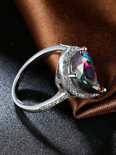 Teardrop Rhinestone Ring - SILVER 8 Mobile