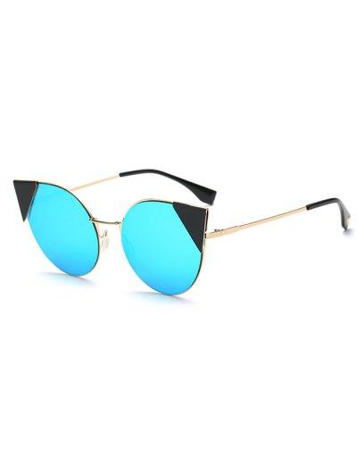 Triangle Insert Cat Eye Mirrored Sunglasses - ICE BLUE  Mobile