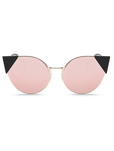 Triangle Insert Cat Eye Mirrored Sunglasses - PINK  Mobile