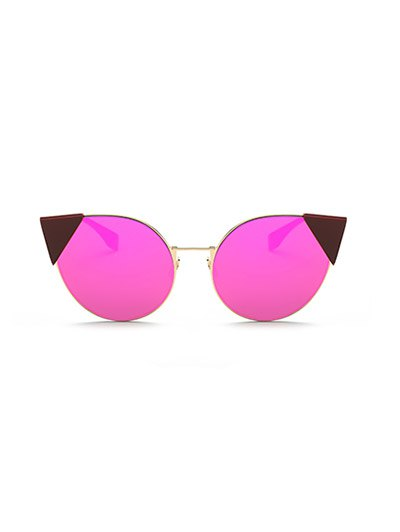 Triangle Insert Cat Eye Mirrored Sunglasses - PINKISH PURPLE  Mobile