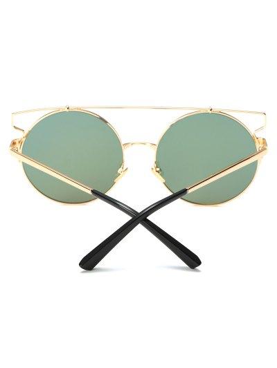 Cross Bar Round Mirrored Sunglasses - PINKISH PURPLE  Mobile