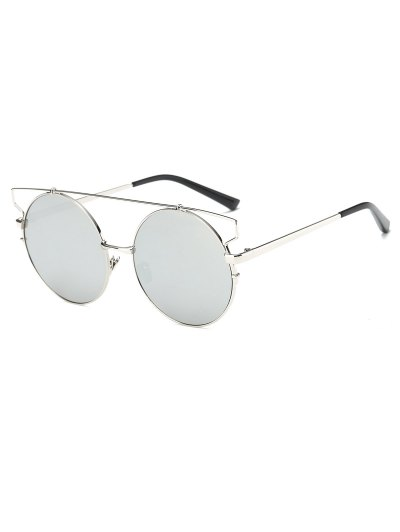 Cross Bar Round Mirrored Sunglasses - SILVER  Mobile