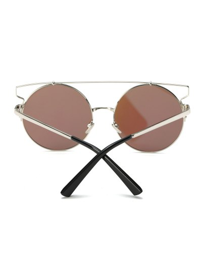 Cross Bar Round Mirrored Sunglasses - ICE BLUE  Mobile