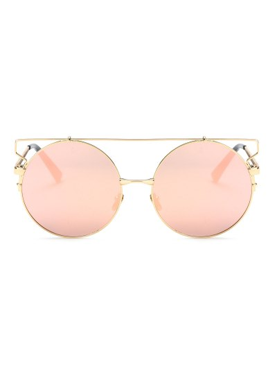 Cross Bar Round Mirrored Sunglasses - PINK  Mobile