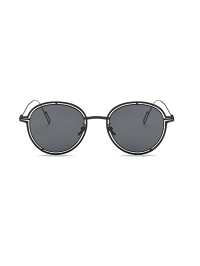 Double Rims Metal Oval Sunglasses - BLACK  Mobile