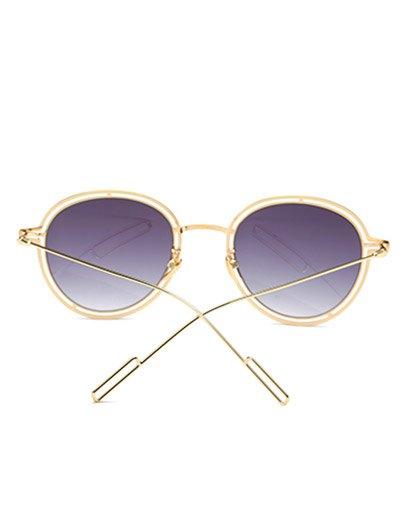 Double Rims Metal Oval Sunglasses - DEEP PURPLE  Mobile