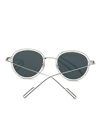 Double Rims Metal Oval Mirrored Sunglasses - BLACK  Mobile