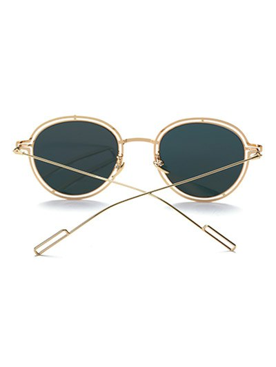 Double Rims Metal Oval Mirrored Sunglasses - GOLDEN  Mobile