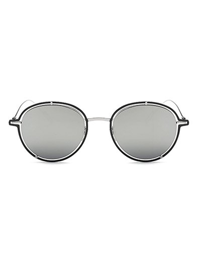 Double Rims Metal Oval Mirrored Sunglasses - SILVER  Mobile