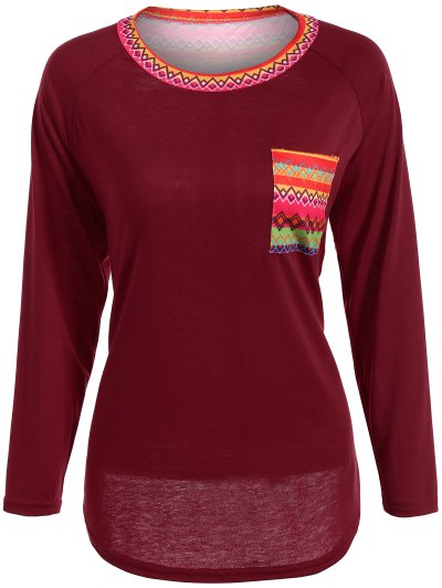 Pocket Round Neck Printed Tunic T-Shirt - RED L Mobile