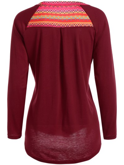 Pocket Round Neck Printed Tunic T-Shirt - RED M Mobile
