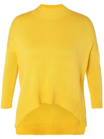 Funnel Neck Plus Size High Low Sweater - YELLOW 3XL Mobile