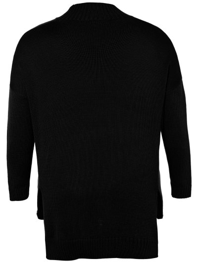Funnel Neck Plus Size High Low Sweater - BLACK 2XL Mobile