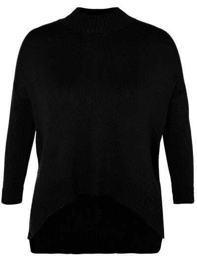 Funnel Neck Plus Size High Low Sweater - BLACK XL Mobile