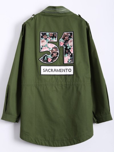 Plus Size Number Patch Utility Trench Coat - ARMY GREEN 2XL Mobile