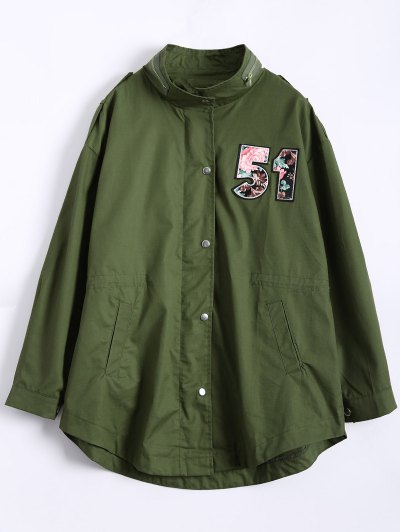 Plus Size Number Patch Utility Trench Coat - ARMY GREEN L Mobile