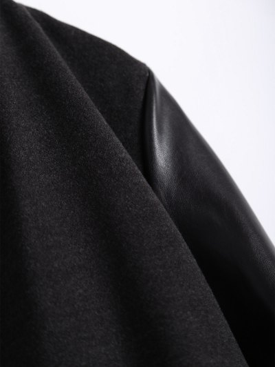 PU Leather Panel Plus Size Coat - BLACK 4XL Mobile