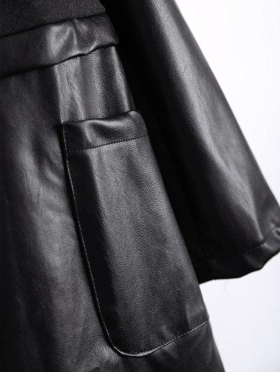 PU Leather Panel Plus Size Coat - BLACK 3XL Mobile