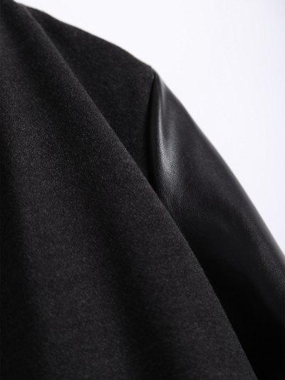 PU Leather Panel Plus Size Coat - BLACK 2XL Mobile