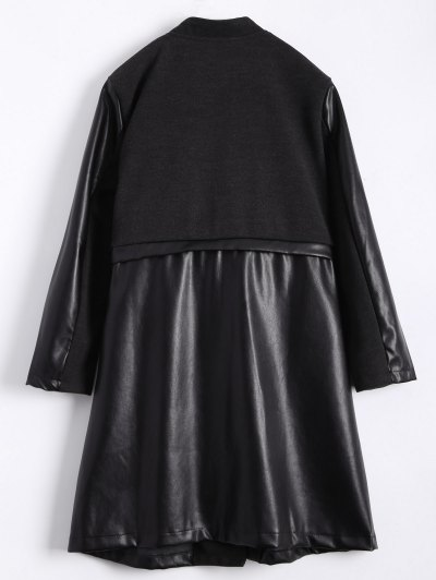 PU Leather Panel Plus Size Coat - BLACK L Mobile