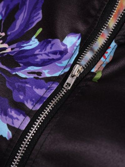 Zippered Floral Bomber Jacket - BLACK L Mobile