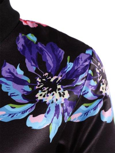 Zippered Floral Bomber Jacket - BLACK S Mobile