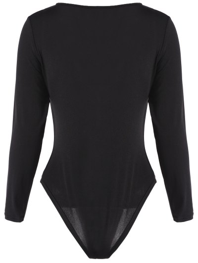 Plunge Neck Fitted Lacework Bodysuit - BLACK M Mobile