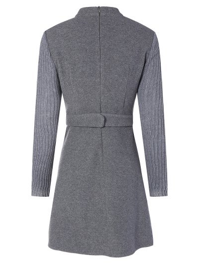 Stand Neck Wool Blend A Line Dress - GRAY M Mobile