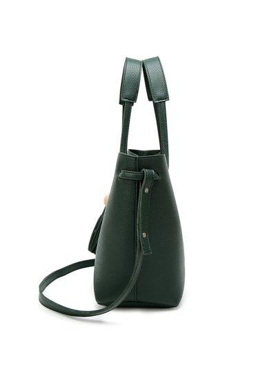Tassel Shoulder Bag With Wristlet - GREEN  Mobile
