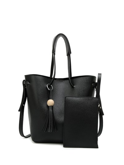 Tassel Shoulder Bag With Wristlet - BLACK  Mobile